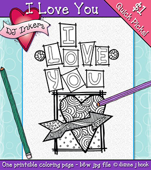 I Love You Printable Coloring Page -NEW!