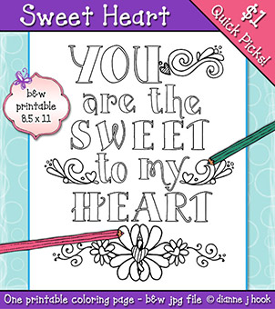 Sweet Heart Printable Coloring Page