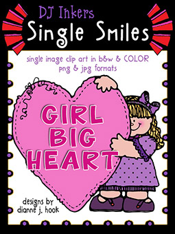 Girl Big Heart - Single Smiles Clip Art Image -NEW