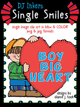 Boy Big Heart - Single Smiles Clip Art Image
