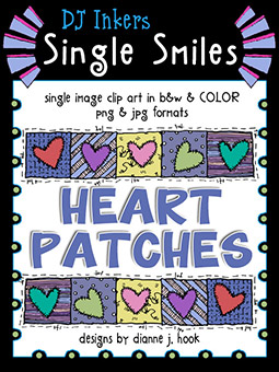Heart Patches - Single Smiles Clip Art Image -NEW!