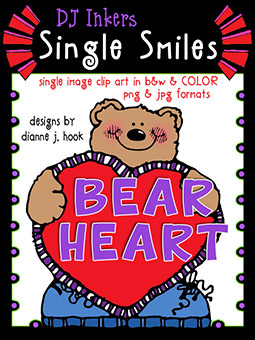 Bear Heart - Single Smiles Clip Art Image -NEW