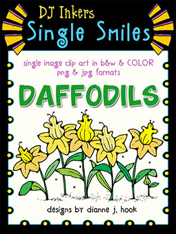 Daffodils - Single Smiles Clip Art Image