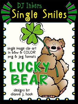 Lucky Bear - Single Smiles Clip Art Image -NEW