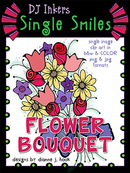 Flower Bouquet - Single Smiles Clip Art Image