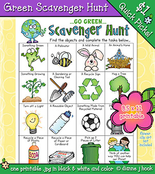 Go Green Scavenger Hunt Printable