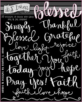 Blessed Brush Words Clip Art Download