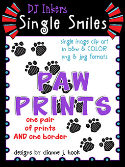 Paw Prints - Single Smiles Clip Art Image -NEW