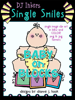 Baby on Blocks - Single Smiles Clip Art Image -NEW