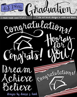 Graduation Brush Words Clip Art Download