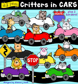 Critters in Cars Clip Art Download