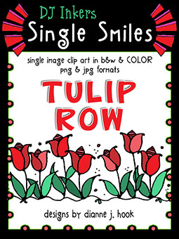 Tulip Row - Single Smiles Clip Art Image
