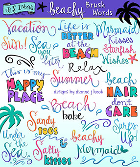 Beachy Brush Words Clip Art Download -NEW!