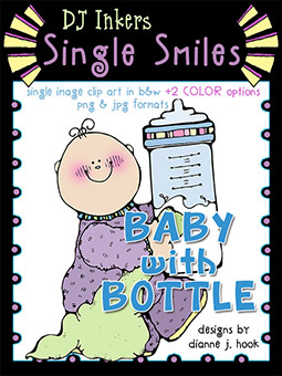 Baby with Bottle - Single Smiles Clip Art Image