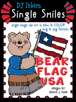 Bear Flag USA - Single Smiles Clip Art Image