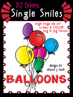 Balloons - Single Smiles Clip Art Image -NEW!