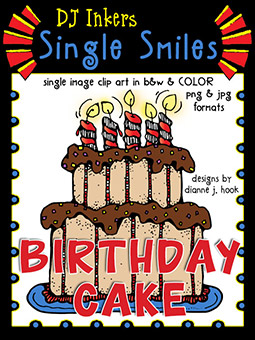 Birthday Cake - Single Smiles Clip Art Image -NEW!
