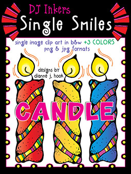 Candle - Single Smiles Clip Art Image -NEW!