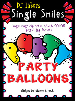 Party Balloons - Single Smiles Clip Art Image -NEW!
