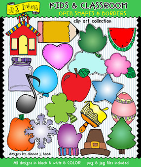Open Shapes and Borders Clip Art - Kids and Classroom Download
