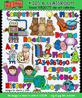 School Subjects Clip Art - Kids and Classroom Download -NEW!