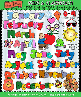 Months of the Year Clip Art - Kids and Classroom Download