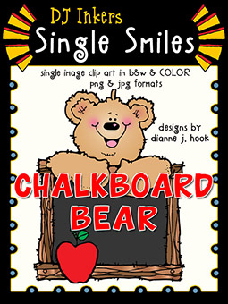 Chalkboard Bear - Single Smiles Clip Art Image -NEW