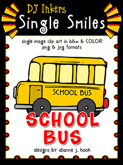 School Bus - Single Smiles Clip Art Image -NEW