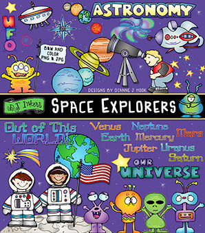 Space Explorers Clip Art Download -NEW!