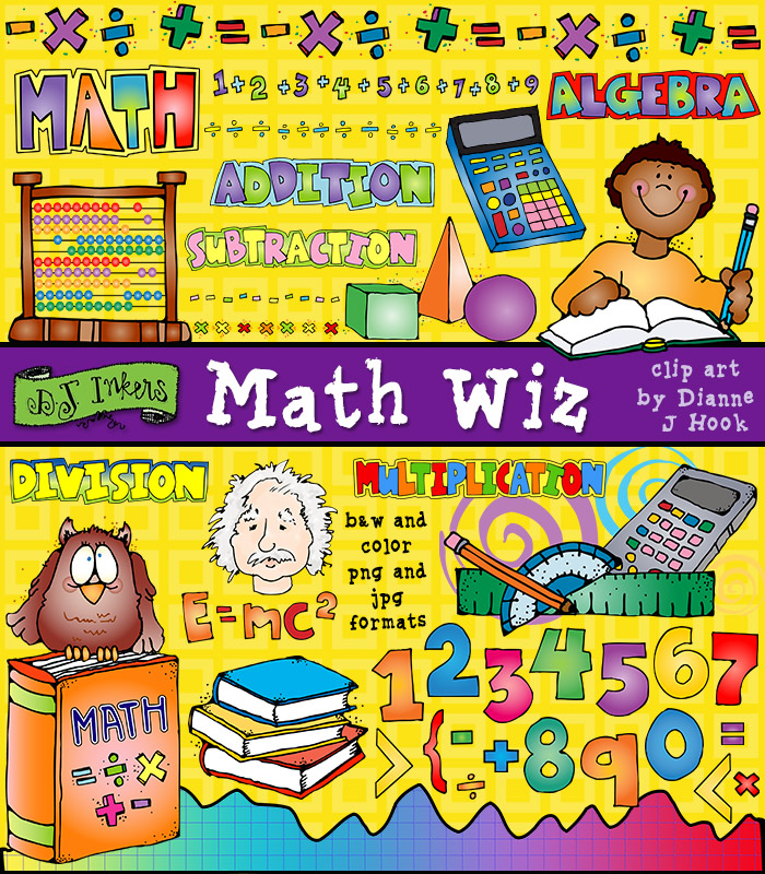 Math Wiz clip art is perfect for teachers, math worksheets, centers, home school and more.