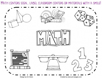Kids math centers classroom sign made with DJ Inkers clip art