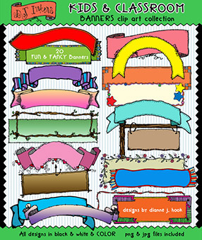 Banners Clip Art - Kids and Classroom Download -NEW!