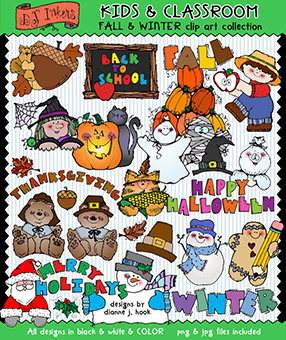 Fall and Winter Clip Art - Kids and Classroom Download -NEW!