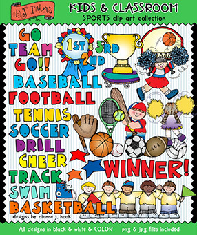 Sports Clip Art - Kids and Classroom Download -NEW!