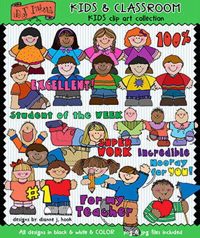 Kids Clip Art - Kids and Classroom Download -NEW!