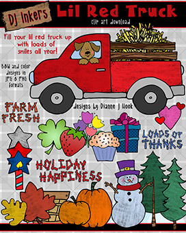 Little Red Truck Clip Art Download -NEW!