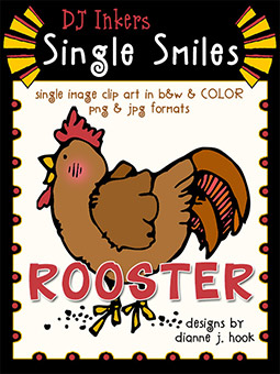 Rooster - Single Smiles Clip Art Image -NEW!