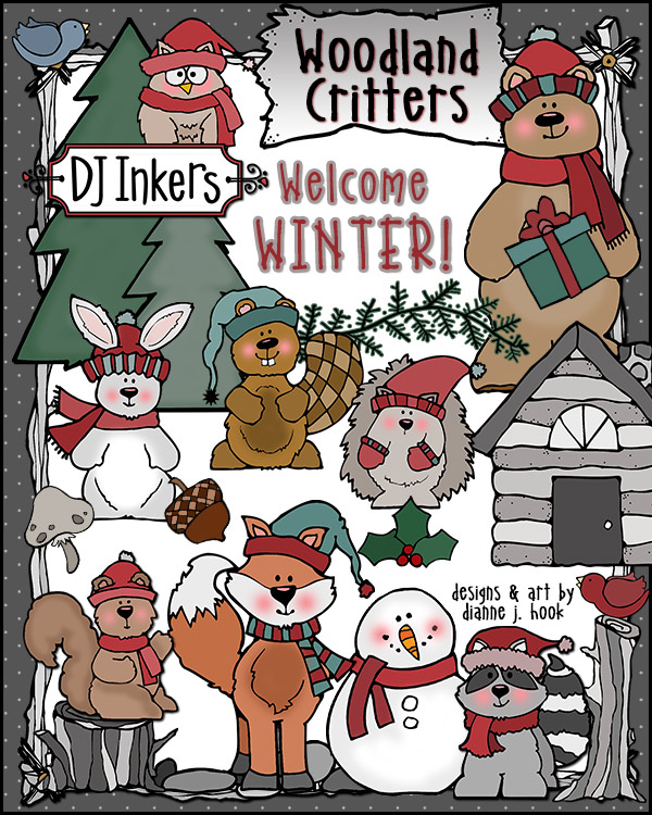 Cute woodland animal clip art for the holidays and warm winter wishes by DJ Inkers