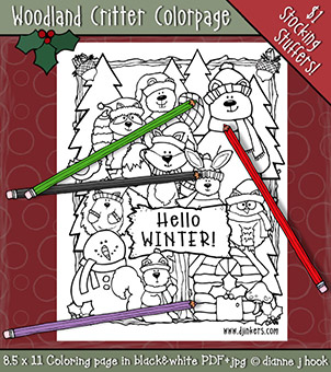 Winter Woodland Critters Printable Coloring Page