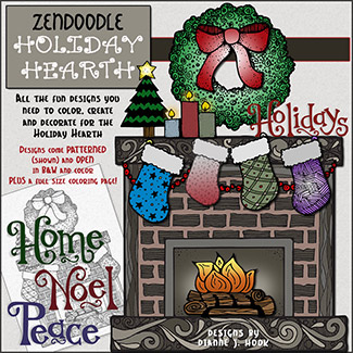 DJ Zen-Doodle Holiday Hearth Clip Art Download -NEW!