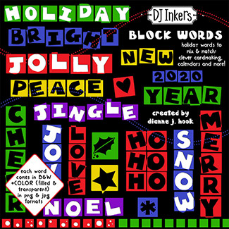 Merry Little Block Words Clip Art Download -NEW!