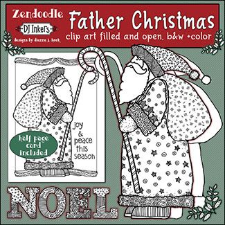 Father Christmas Zen-Doodle Clip Art Download -NEW!