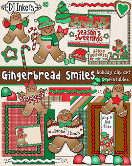 Gingerbread Smiles Clip Art and Printables Download -NEW!
