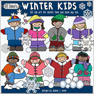 Winter Kids Clip Art Download -NEW!