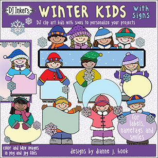 Winter Kids with Signs Clip Art Download -NEW!