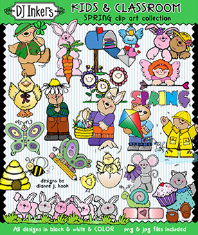 Spring Clip Art - Kids and Classroom Download -NEW!