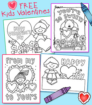 Kids Coloring Valentines Printables -FREE w/$5 purchase!