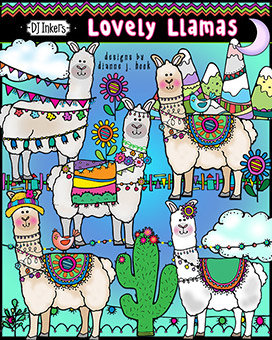 Lovely Llamas Clip Art Download -NEW!