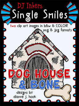Dog House and Bone - Single Smiles Clip Art Download