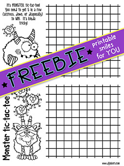 Monster Tic-Tac-Toe Printable Freebie